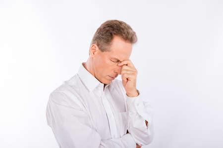 pensiveness: A sad mature man with negative feelings