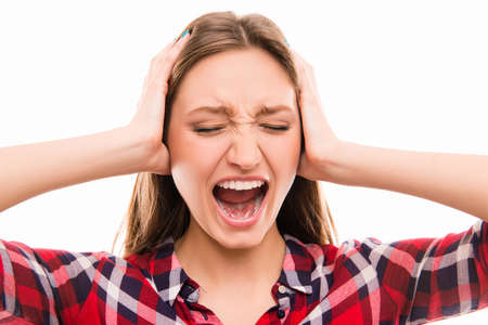 ear checked: A portrait of very frustrated and angry woman Stock Photo