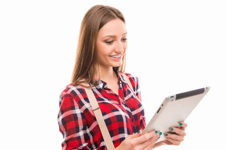portarit: Portarit of cute student girl with tablet PC Stock Photo