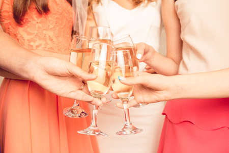 bachelor: Closeup photo of stylish girls celebrating a bachelorette party Stock Photo
