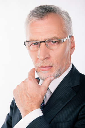 gray beard: Portrait of intelligent businessman with gray beard pondering and putting his hand on chin
