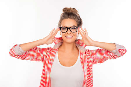 funny glasses: Cheerful cute girl with funny glasses Stock Photo