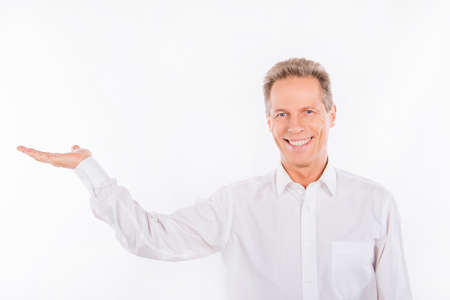 profesional: A smiling mature man with wrinkles on the white background Stock Photo