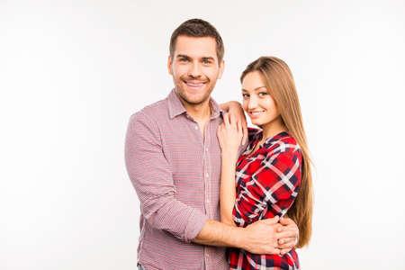 smooch: Cheerful hugging couple in love