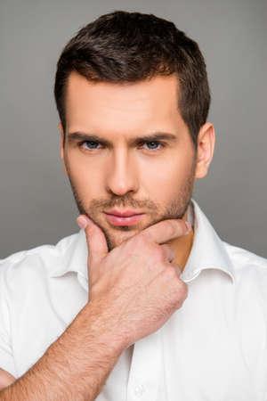 pensiveness: Close up photo of serious  pensiveness man