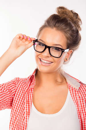 funny glasses: Pretty sexy girl with funny glasses