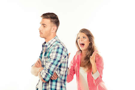 ignore: Handsome man ignore his angry girlfriend Stock Photo