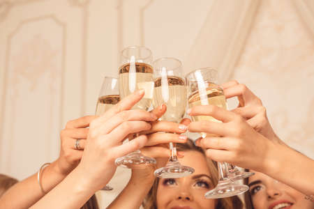 hen party: Girls celebrate a bachelorette party of bride