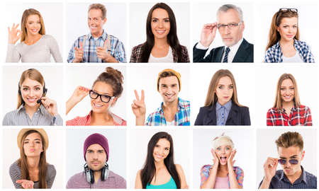 male face: Collage of diverse people expressing different emotions
