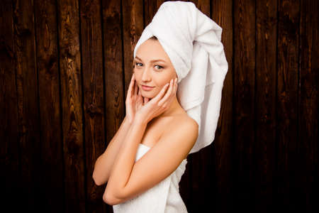 towel head: Young pretty cute girl with towel on her head