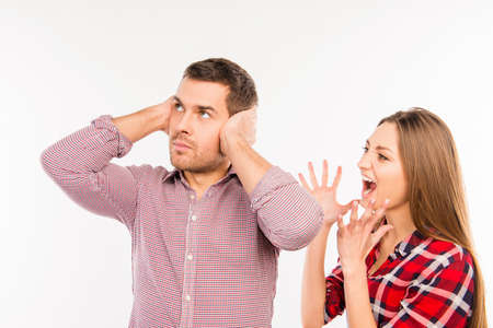 annoyed girl: Annoyed girl shouting at her boyfriend