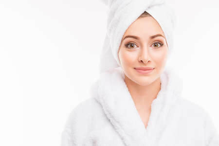 female in douche: Young pretty cute girl with towel on her head