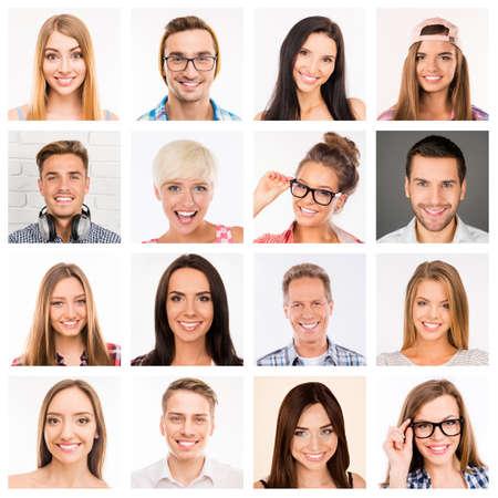 collage caras: collage de bellas sonrisas humanos blancos.