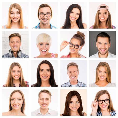 Collage picture of beautiful white human  smiles. Stock Photo