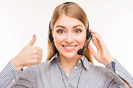 Cheerful young  agent of call centre gesturing LIKE