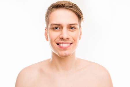 sauna nackt: Close up portrait of cheerful hansome young healthy man Lizenzfreie Bilder