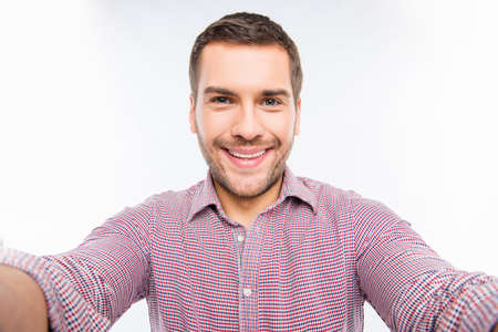 cute guy: Selfie of handsome young man