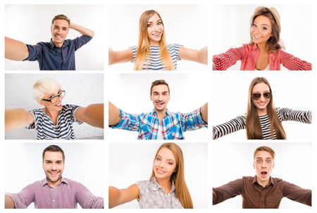 mixed age range: Collage of diverse cheerful people making different selfie Stock Photo