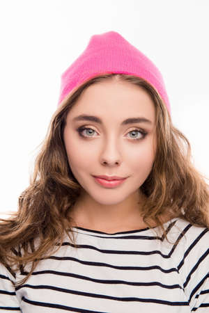 pink hat: Portrait of beautiful young woman in pink hat and curly hair