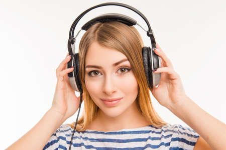 calm woman: Calm relaxed young woman with headphones