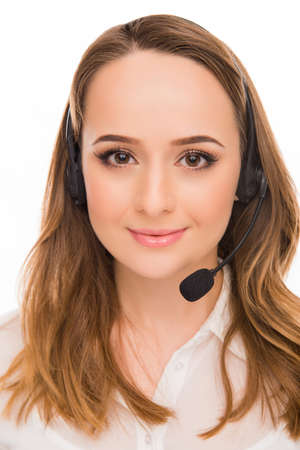 caller: Close up portrait of young cheerful agent of call centre