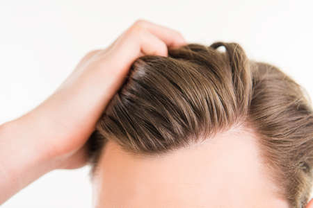 Close up photo of clean healthy man's hair without furfur Stock Photo - 57644601