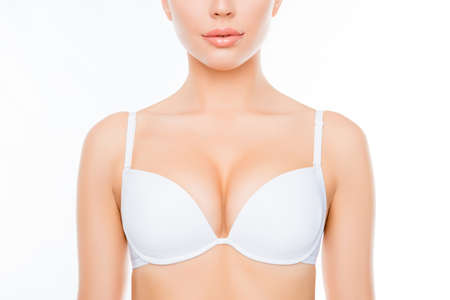 Close up photo of shapely sexy woman in white bra