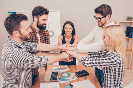 many hands: Friendship in business company.  Many hands clasped