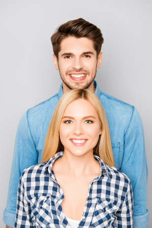 he laughs: Portrait of happy smiling toothy man and woman in love Stock Photo