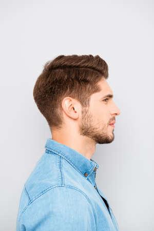 Side view portrait of handsome man in blue shirt Stock fotó