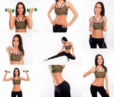 going in: Collage of fit slim muscular woman going in for sports