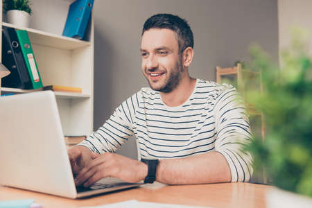 mature business man: Smart happy successful  bearded businessman working with laptop