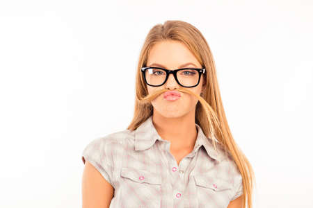 funny glasses: funny girl fooling around and pouting with glasses