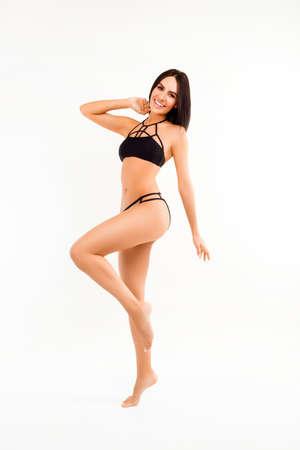 going in: Attractive healthy woman in black underwear going in for sport