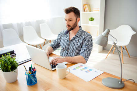 everyday jobs: Handsome bearded concentrated businessman typing on laptop Stock Photo