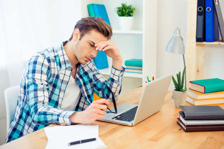 ponder: Ponder tired man thinking about way to end task