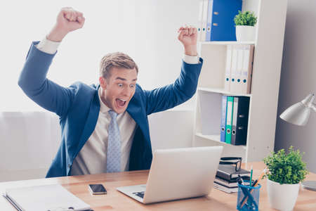 yeah: Yes! Happy businessman successfuly completed his task