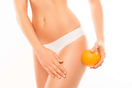 Close up of woman in panties with orange  massagin skin on leg
