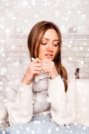 rheum: Portrait of ill woman having flue on new year