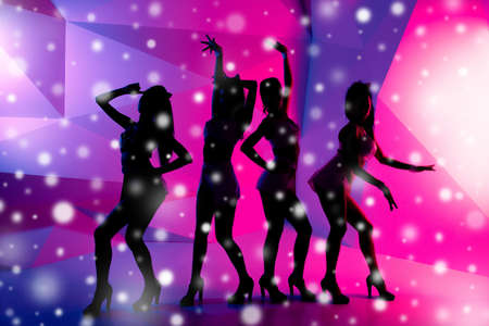 gogo girl: Silhouettes of four sexy posturing girls on the background of snowfall