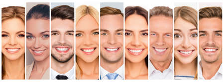 Collage picture of different cheerful adult people expressing happiness. beautiful white human beaming smiles. Stock Photo