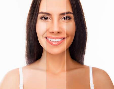 Brunette visage de femme heureuse avec une peau de couleur différente Banque d'images