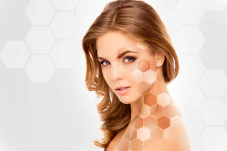 skin color: Cute beautiful female face with various types of skin tone Stock Photo