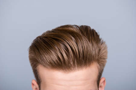 Cropped photo portrait of mans head with health hair and stylish haircut Stock Photo