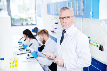 Laboratory work of three. Close up portrait of professor in formal wear and special labcoat in glasses holding tablet and looking serious and concentrated