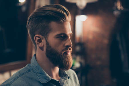 Barbershop concept. Profile side portrait of attractive severe brutal red bearded young guy. He has a perfect hairstyle, modern stylish haircut Foto de archivo