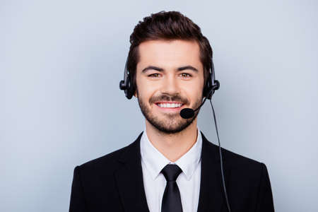 Close up portrait of happy with beaming smile man in formal wear working in call center Stock fotó