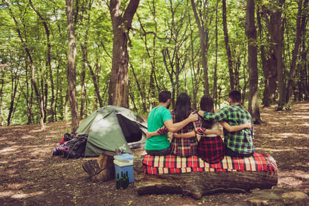Rear view of four serene tourists friends sitting and bonding on a log in a campsite, nice summer sunny green wood Banco de Imagens