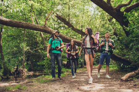 Trekking, camping and wild life concept. Two couples of friends are walking in the sunny spring woods, talking and laughing, all are excited and anxious, jungle trails