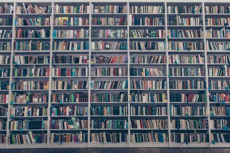 Innenarchitektur der alten Bibliothek mit den enormen hölzernen grauen Buchregalen, die von der bunten Literatur, von den Büchern, von den Publikationen und vom Bretterboden voll sind Standard-Bild